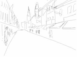 Marktstrasse, preliminary sketch.