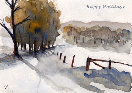 Winter scene near Trippstadt (Michael Liebhaber, watercolor, 2013)