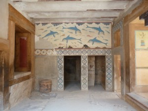 Dolphin room at Knossos, Crete, Greece.