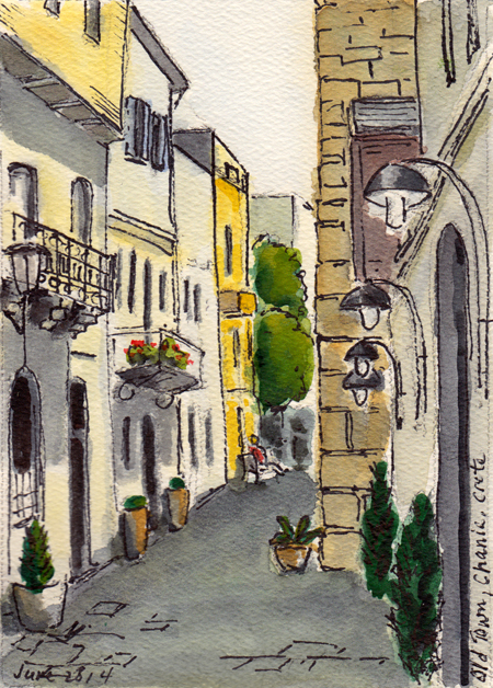 Old Town, Chania, Crete (Watercolor & Ink, © Michael Liebhaber, 2014)