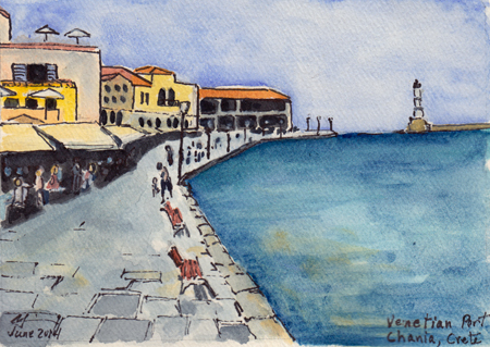 Venetian Port, Chania, Crete (Watercolor & Ink, © M. Liebhaber, 2014)