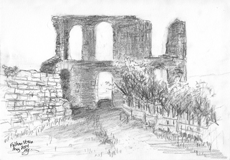 Michael Liebhaber; Late Afternoon at Falkenstein Castle, Germany; 2014; Pencil on paper, 25.5 cm x 18 cm