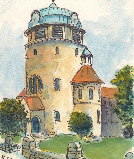 Michael Liebhaber, St. Sebastian Church, Rockenhausen, Germany, Watercolor and Ink, 7x5in (18x13cm)