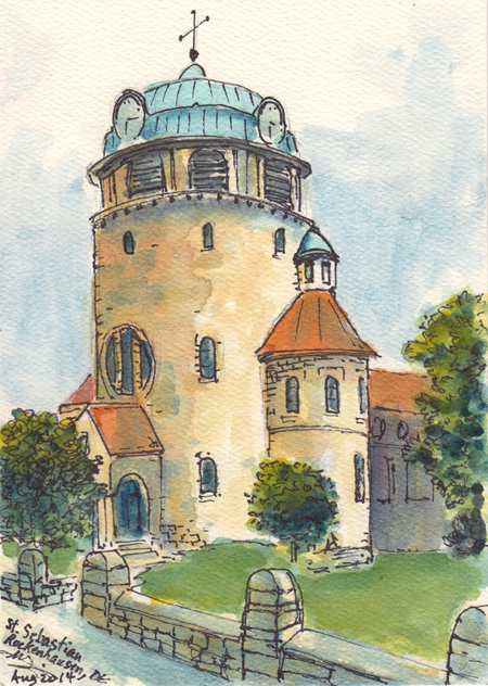 Michael Liebhaber; St. Sebastian Church, Rockenhausen, Germany; Watercolor and Ink; 7x5in (18x13cm)