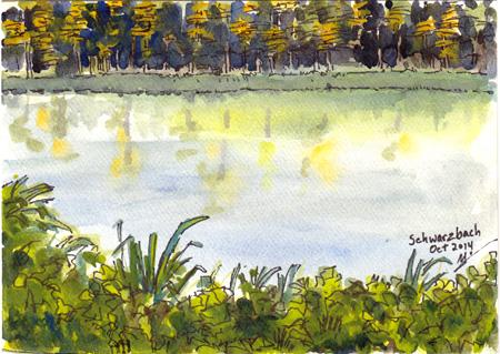 Michael Liebhaber, Schwarzbach, watercolor & ink, 7x5in (17.5x12.5cm)