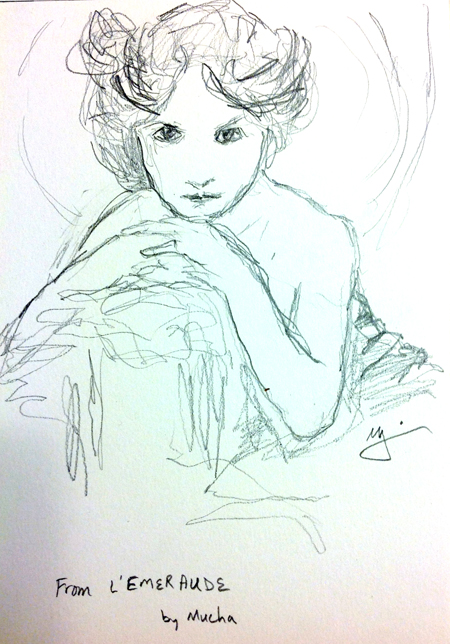 From the painting Emeraude, by Alphonse Mucha (Michael Liebhaber,Emeraude Study, Graphite on paper, 15x21cm, 2014)