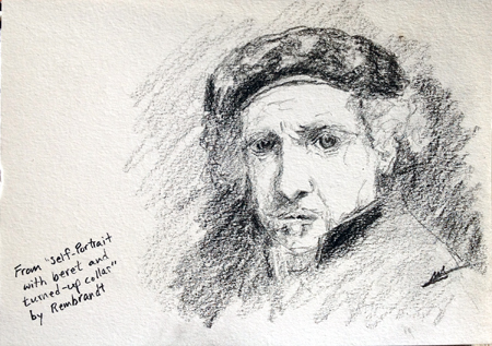 Sketch from Rembrandt Self-Portrait (Michael Liebhaber, Graphite on paper, 15 x 21 cm, 2014)