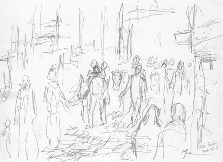 Michael Liebhaber, Street Scene in Fez Souk, Pencil, 20x14.5cm (8x5.75in)