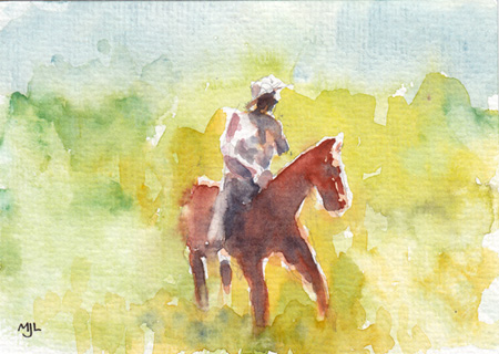 Michael Liebhaber, Colorado Cowboy, watercolor, 4x6 in